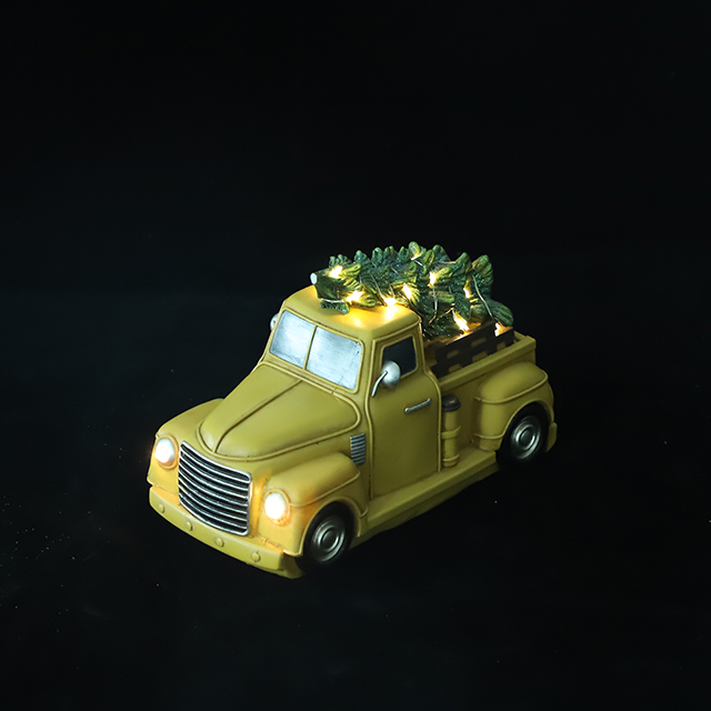 POLY X'MAS CAR WITH LED LIGHT