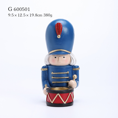 Polyresin Nutcracker Soldier Candle Holder