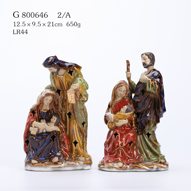 2A STYLE \One Piece Holy Family with LED, reactive glazed Christmas Holiday Figurine