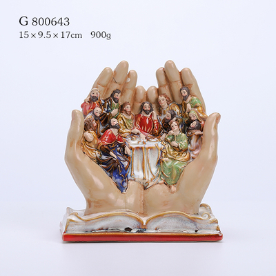 Porcelain Figurine in Book Hands Multi Glazed Finish